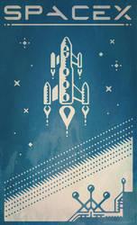 SpaceX retro-futuristic poster design by m7