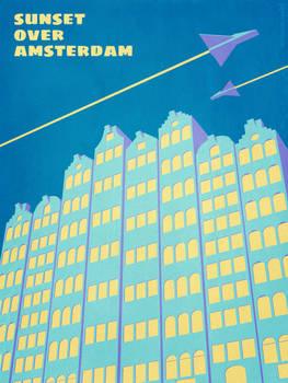 Sunset over Amsterdam - sci-fi novel cover artwork
