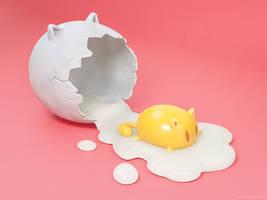 Feline egg - cartoony 3D artwork