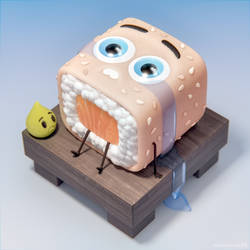 Sushicution 3D character artwork