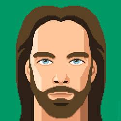 Billy Mitchell pixel art portrait