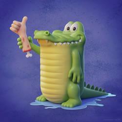 Cute 3D crocodile cartoon character design