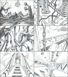 Old game cinematic storyboard sketches