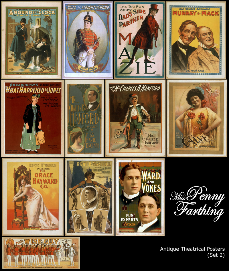Antique Theatre Posters Set 2 by MissPennyFarthing
