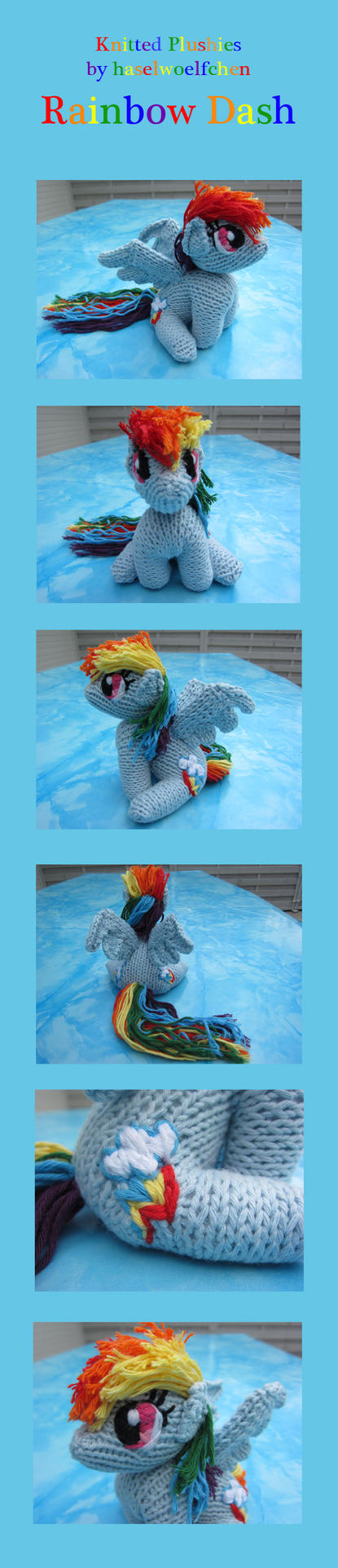 Knitted Plushies - Rainbow Dash (new colours) by haselwoelfchen