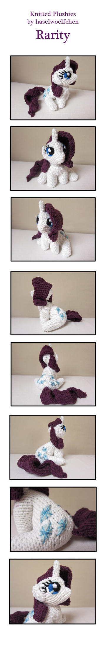 Knitted Plushies - Rarity by haselwoelfchen