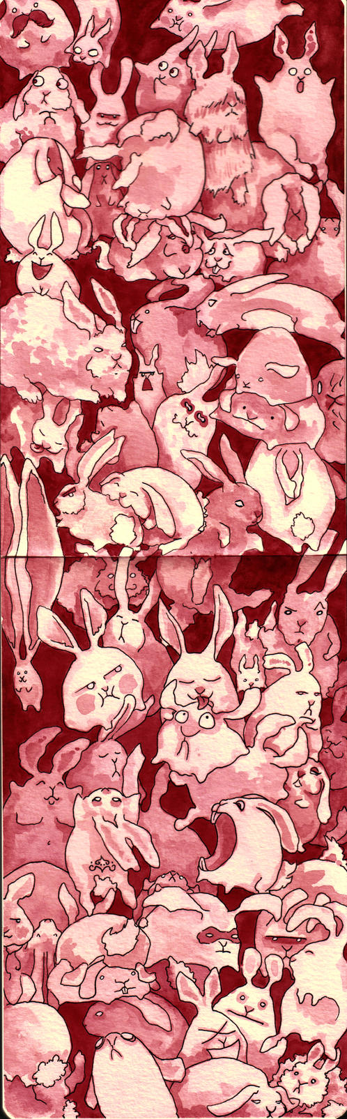 Pink Bunnies by Quilsnap