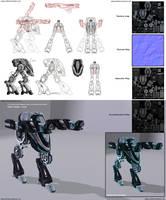 The Strider - Mechanoid concept art to 3D