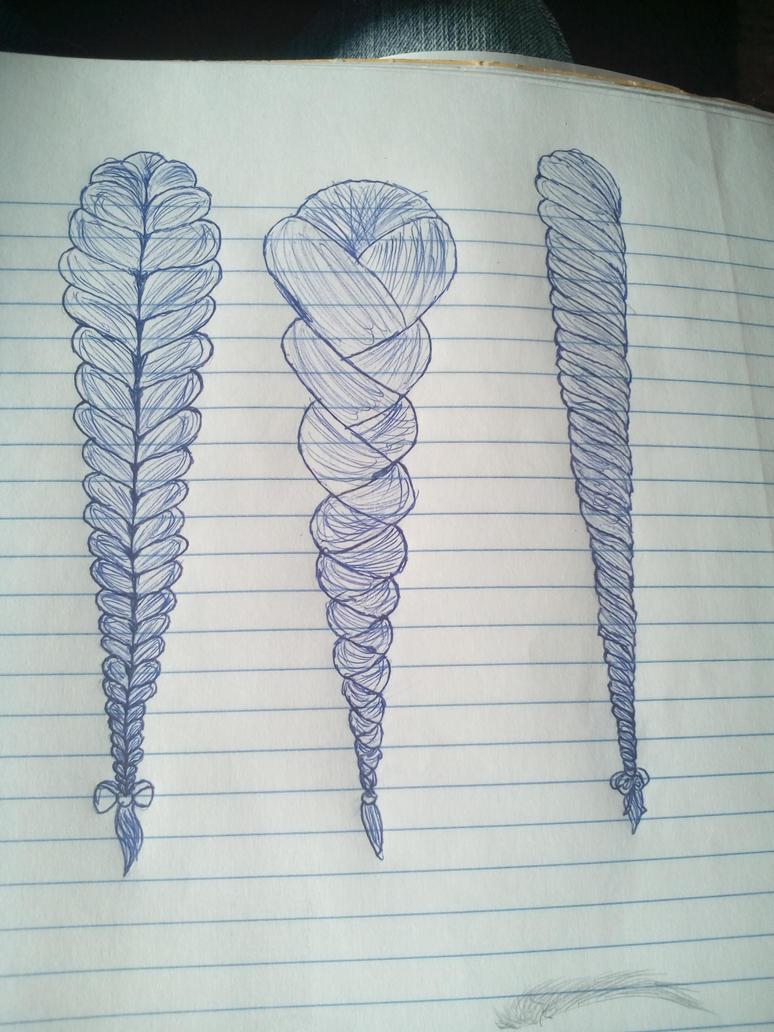 braided hair sketch practice by CreepyPastaFangirl06
