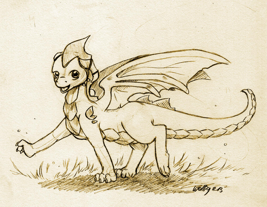 Raikan the Earth Dragon_Commission Sketch by Wollfisch