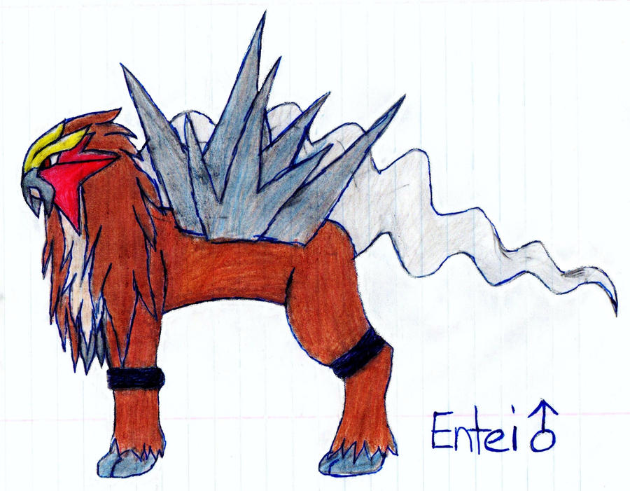 Legendary Poke'Mon ENTEI {Drawn by My Daughter} by Empress-XZarrethTKon