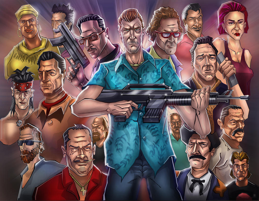 Gta 5 Cartoon Characters : Gta vice city characters by huzzain on deviantart