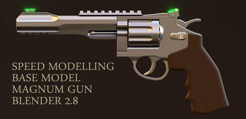 Speed modelling magnum gun inside Blender 2.8 by huzzain