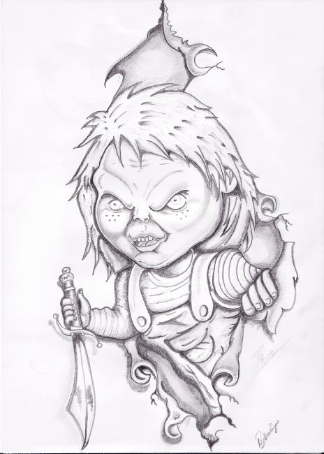 chucky tattoo stencil drawings sketch coloring page. Black Bedroom Furniture Sets. Home Design Ideas