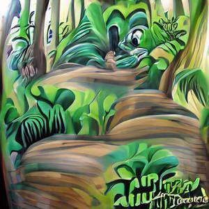 cartoon jungle forest from Disney airbrush art
