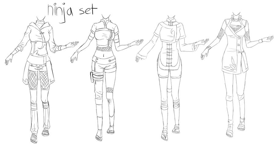 Outfit set 1: Ninja by Kohane-chan