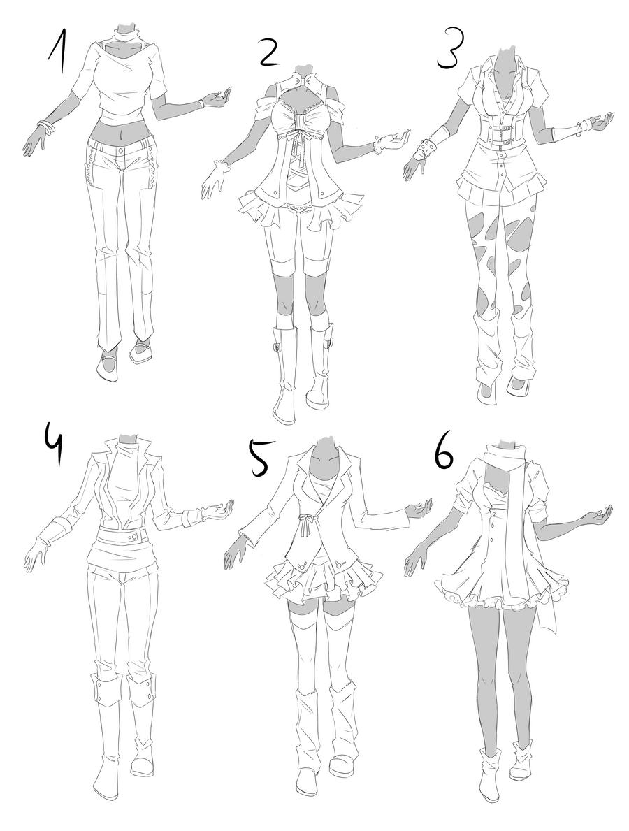 Outfit set 7: modern + playful by Kohane-chan