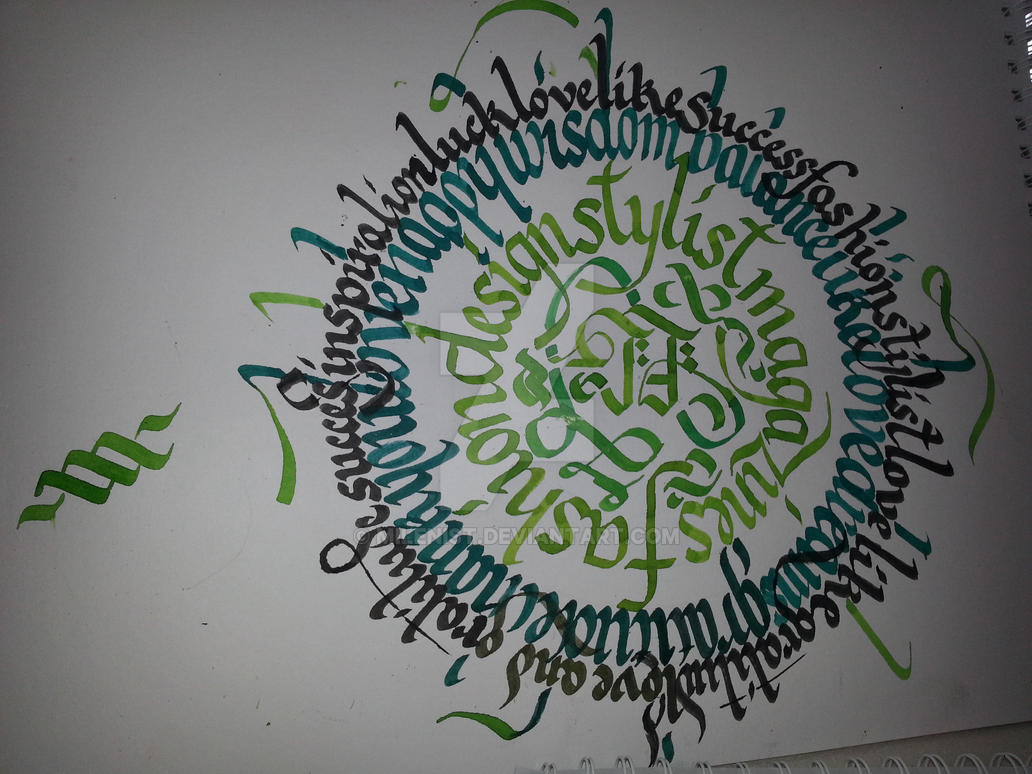 Calligraphy Calligram for my girlfriend by Milenist
