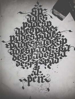 Spades Calligraphy Calligram (1/4)