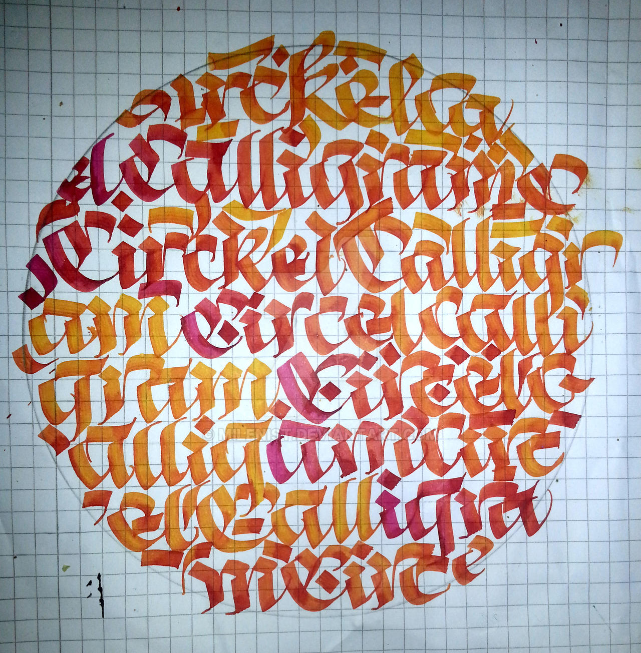 Circle calligraphy calligram Sun by Milenist