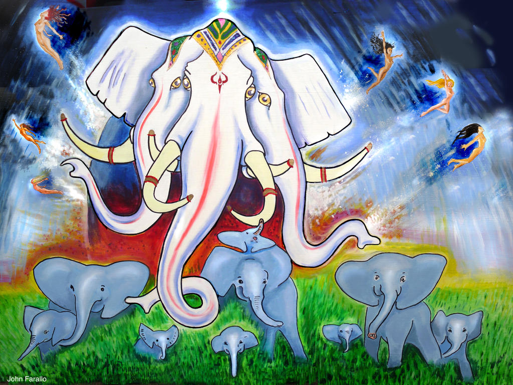 three headed elephant art