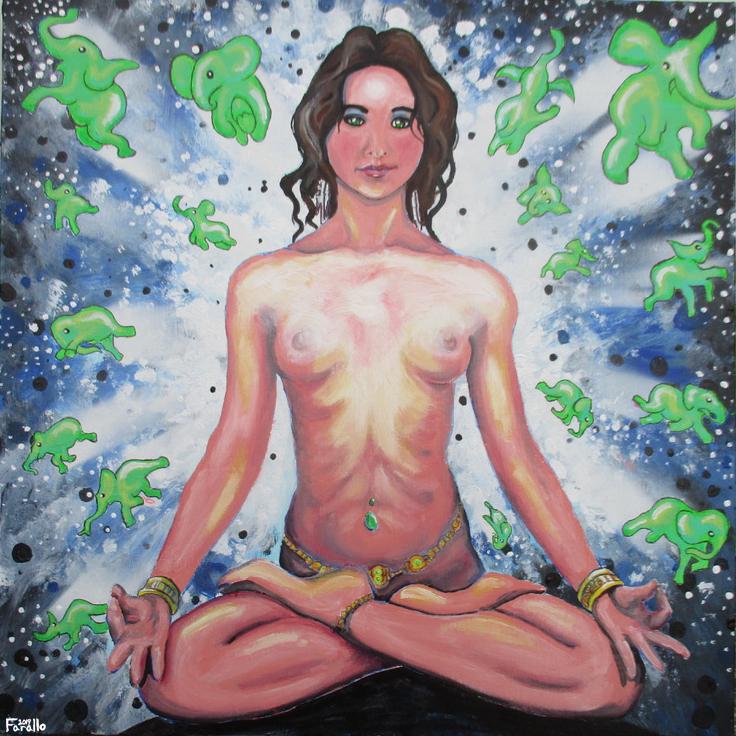 Green Elephants Meditator Woman by JohnFarallo