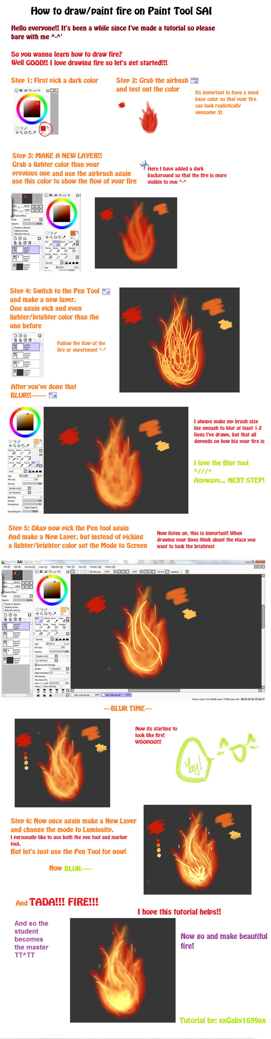 Paint Tool Sai Flame Tutorial