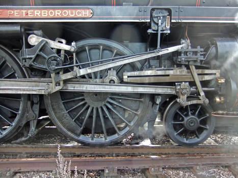 Train detail: valve gear and mechanical lubricator