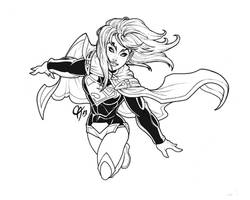 New 52 Supergirl linework by Cahnartist