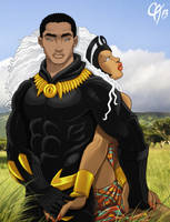 Black Panther and Storm by Cahnartist