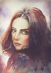 161205 Girl Watercolor Portrait by JeSSanchez