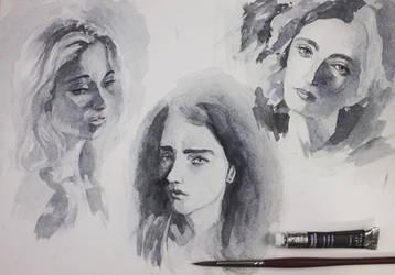 170423 Girl Portrait Studies BN by JeSSanchez
