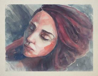 170614 Portrait Girl Watercolor by JeSSanchez