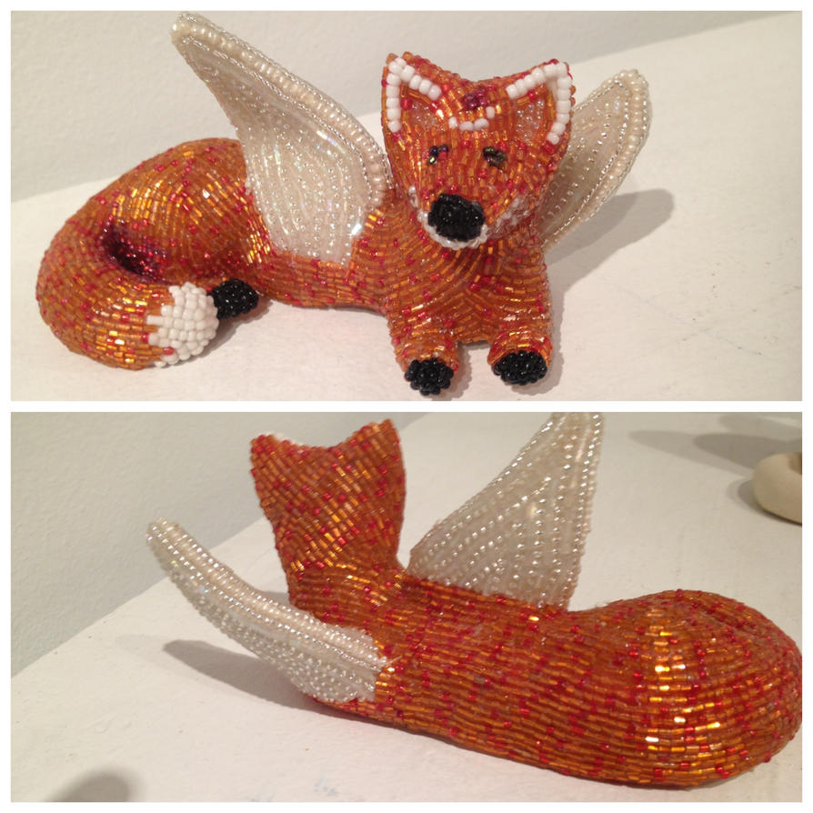beaded fox with wings whose name is spoons by