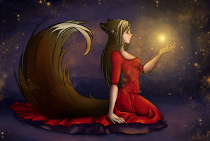 Celestial fox. For birthday Kate Fox =) by GreenAmb