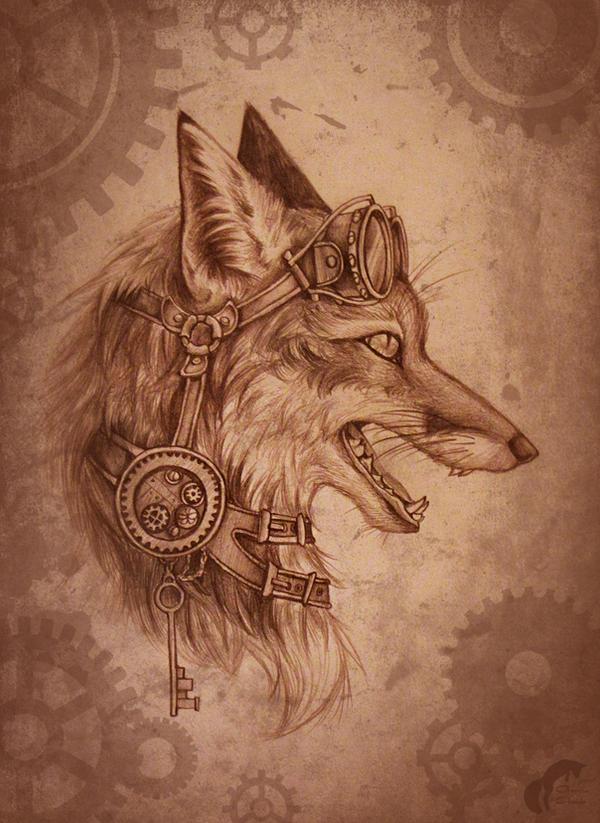 Steampunk-fox by GreenAmb