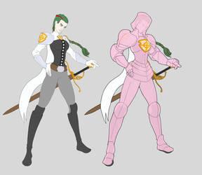 Archknight Lyrah, mantle and sunforged armor