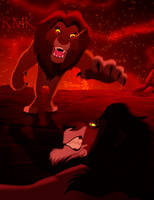 Confrotation Simba vs Scar -Disney by RMizukaze