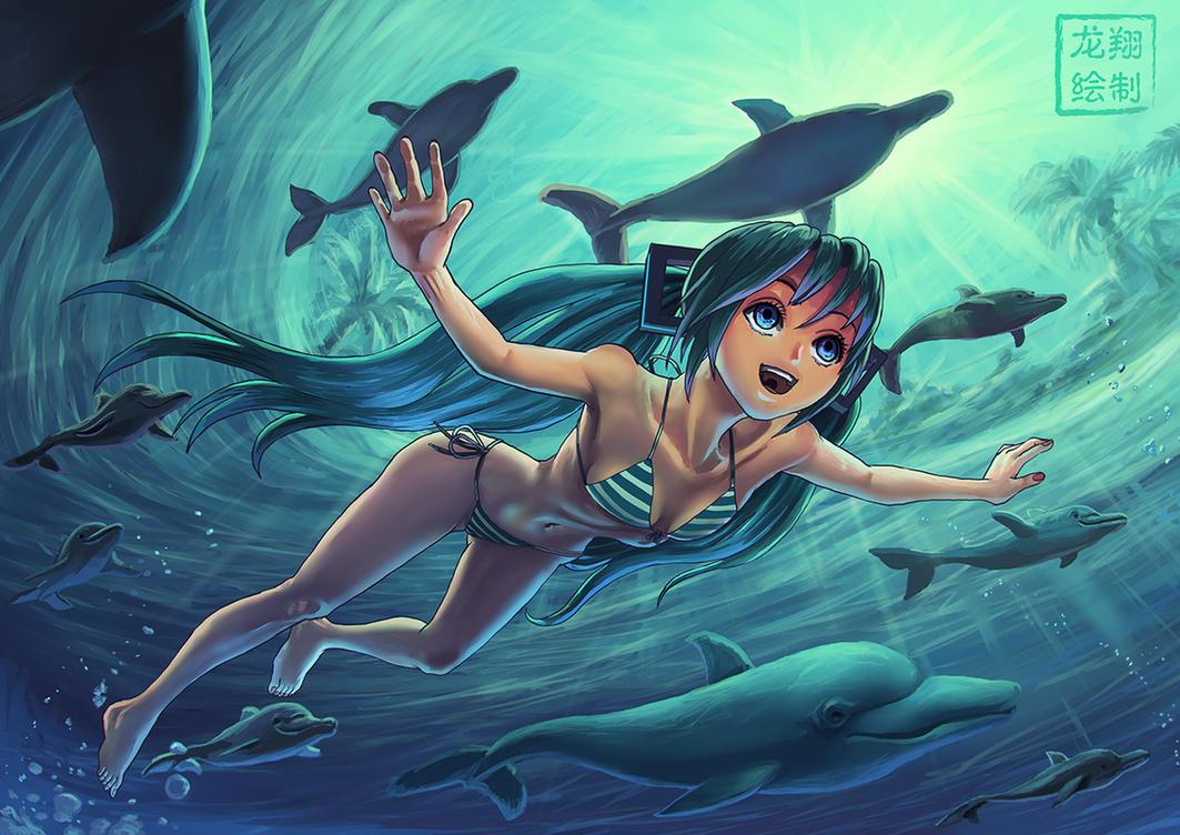 Aquatic Miku, Turquoise heaven by ShinRyuShou