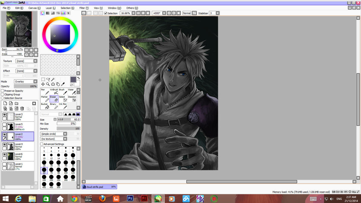 Cloud Strife wip 003 coloring stage by ShinRyuShou