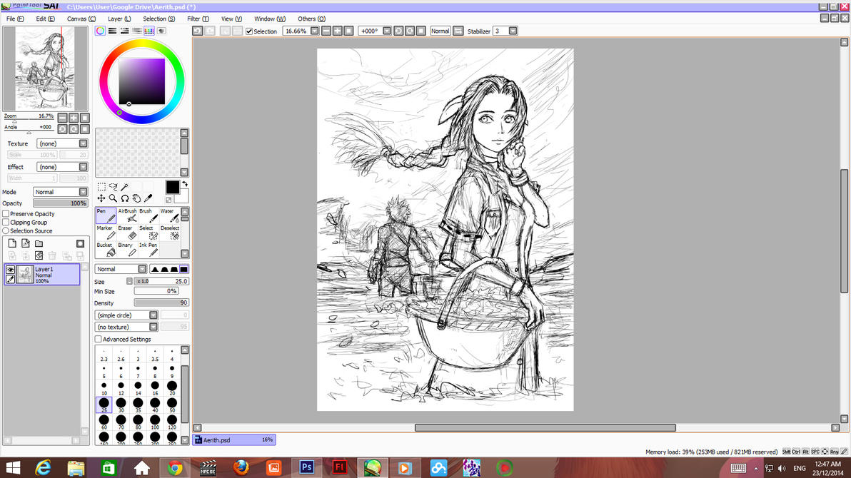 Aerith Gainsborough Wip rough sketch stage 001 by ShinRyuShou