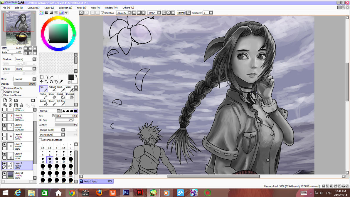 Aerith Gainsborough Wip Rough shading stage 002 by ShinRyuShou