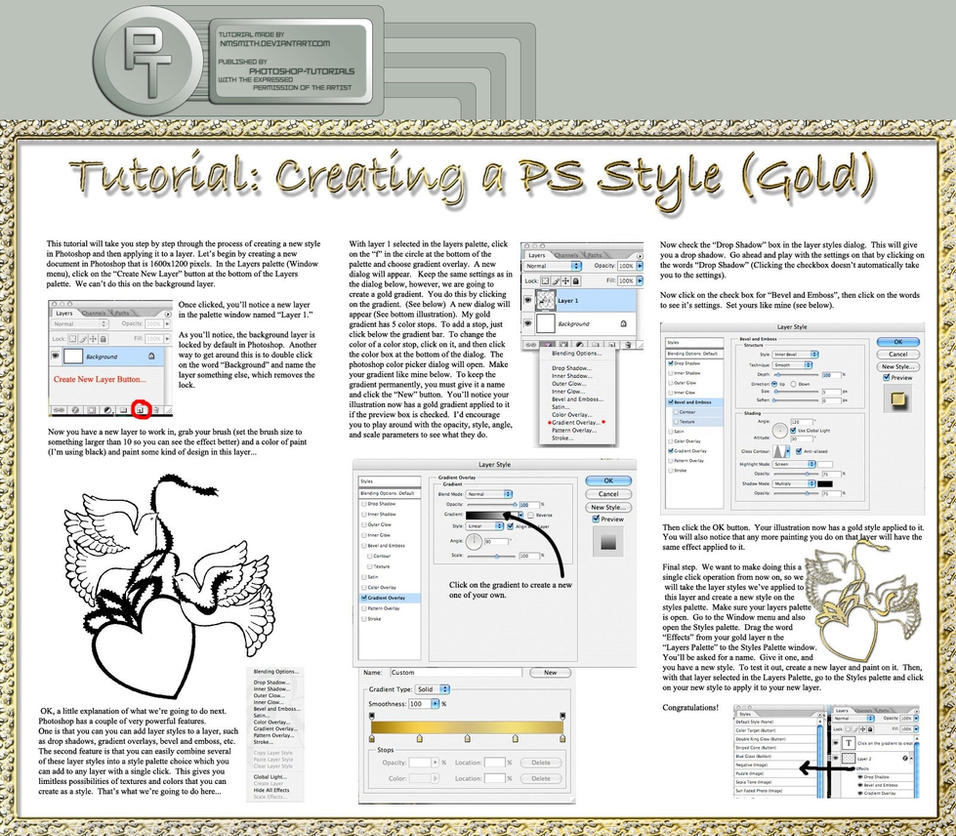 Part 4: Gold Emboss Style -T- by photoshop-tutorials