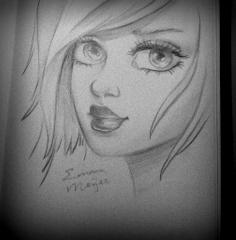 Girl Face Drawing Side Traffic Club