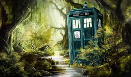 Tardis in the Woods II by SkyManateeStudios