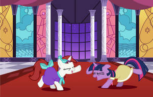 Twilight and Moondancer at the gala