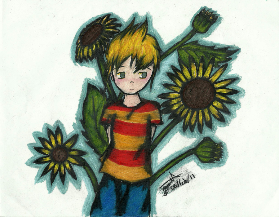 With Sunflowers by lenkagamine02