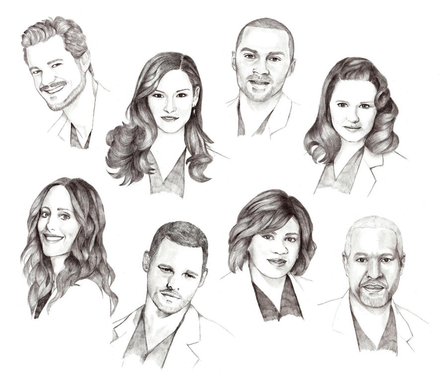 Drawing Lines Grey S Anatomy : Grey s anatomy cast by lady hannah on deviantart