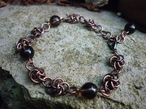 Copper Chainmaille Bracelet with Smoky Quartz