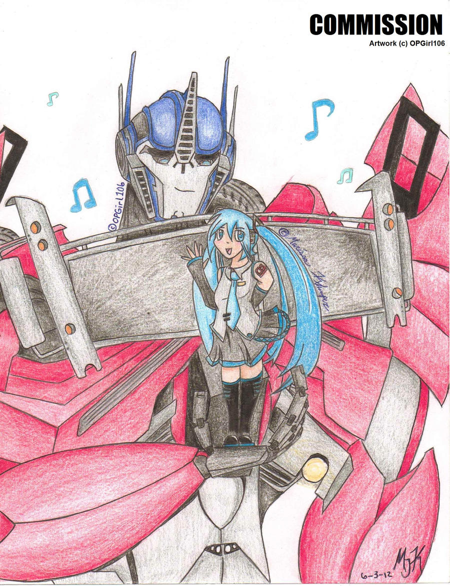 Commission optimus prime and miku hatsune by opgirl106 on deviantart